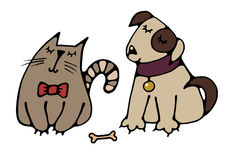 Cat and dog best friends. Cute friends cat and dog drawn a simple picture for embroidery, applique, or element of design Royalty Free Stock Images
