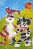 Cat, dog, and bird - gouache painting made by child Stock Image