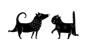 Cat Dog Black et blanc illustration de vecteur