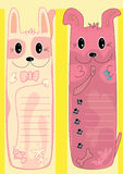 Cat Dog Bookmark_eps. Illustration of long cat and dog bookmark with yellow background Royalty Free Stock Photo