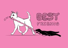 Cat and Dog cartoon characters. Best friends forever illustration. Friendship funny sketch. royalty free illustration