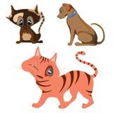 Cat and dog cartoon characters Stock Photos