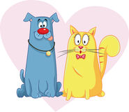 Cat and Dog Cartoon Vector Mascots. Vector cartoon of funny pet animals vector illustration