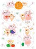 Cat dog character fruit sticker set Royalty Free Stock Image