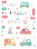 Cat dog character vehicle sticker set. This illustration is drawing and design character cat and dog with safe awareness in  sticker with white color background Stock Images