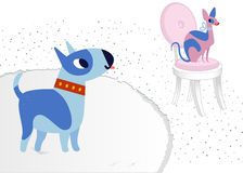 Cat and Dog characters best happy friends. Bull terrier and sphinx. Vector flat cartoon illustration Stock Photography