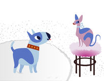 Cat and Dog characters best happy friends. Bull terrier and sphinx. Vector flat cartoon illustration Royalty Free Stock Image