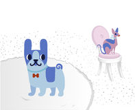 Cat and Dog characters. French bulldog and sphinx. Vector flat cartoon illustration.  on white background. Royalty Free Stock Image