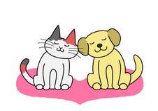 Cat and dog cheek to cheek. Cat and dog sitting cheek to cheek vector illustration