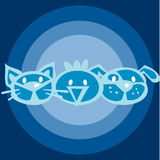 Cat_dog_chicken_Blue Illustrazione di Stock