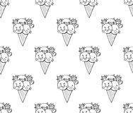 Cat Dog Chicken Ice Cream mignonne sur le fond blanc Illustration de vecteur Image libre de droits