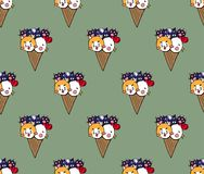 Cat Dog Chicken Ice Cream mignonne sur le fond de thé vert Illustration de vecteur illustration libre de droits