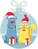 Cat and Dog with Christmas Gifts Vector Cartoon Stock Photography