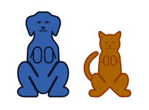 Cat and dog color symbols of pets Royalty Free Stock Photos