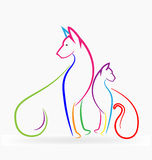 Cat and dog colorful pets Royalty Free Stock Photography