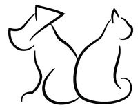 Cat and Dog Contour Simplified Black Silhouettes Stock Image