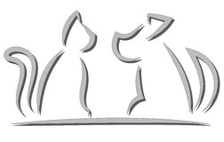 Cat and Dog Contour Simplified Silhouettes. Isolated on white Royalty Free Stock Photo