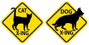 Cat and Dog Crossing Signs Stock Photo