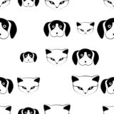 Cat and dog cute vector animal seamless pattern stock illustration