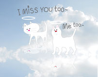 Cat Dog die and miss you on cloud in the sky Stock Photo