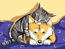 Cat and Dog. Digital Number Painting royalty free illustration