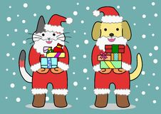 Cat and dog dressed Santa Royalty Free Stock Images