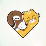 Cat and dog embrace love vector illustration