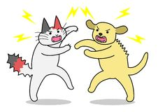 Cat and dog fighting Royalty Free Stock Photography