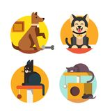 Cat and dog flat vector. Illustration in rounds Royalty Free Stock Photo