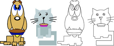 Cat and dog with food bowl in the mouth. Cat and dog with a food bowl in the mouth colored and silhouettes for children coloring book Stock Photography