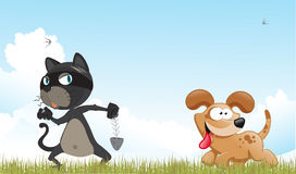 Cat and dog. In forest with clouds and birds Royalty Free Stock Photo