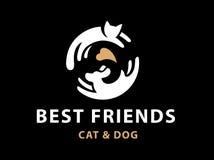 Cat and dog friends emblem, logo. Design vector illustration