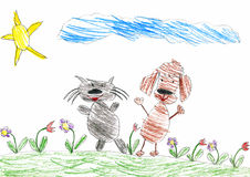 Cat and dog are friends walk on meadow, child drawing Stock Image