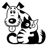 Cat and dog friendship black white. Cartoon little cat hugging his dog friend. Pets friendship. Black and white logo Royalty Free Stock Photography