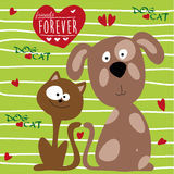 Cat and dog friendship – illustration vector Stock Images