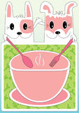Cat Dog Friendship Cooking Menu_eps. Illustration of cat and dog holding spoon and fork. Bowl and background with fish and bone pattern Stock Photo