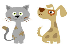 Cat and dog. Funny cartoon style cat and dog stock illustration