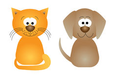 Cat and dog - funny vector illustration Royalty Free Stock Images