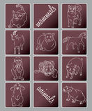 Cat, dog, goat, horse, monkey, pig, rabbit, rat, sheep, tiger Royalty Free Stock Photography