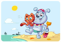 Cat and dog happy on beach Royalty Free Stock Photography