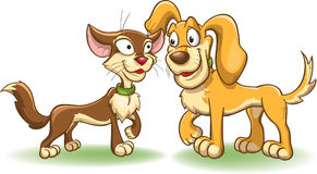 Cat and dog have met. Cartoon vector illustration isolated on white Stock Photos
