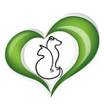 Cat and dog heart logo. Cat and dog heart leafs logo vector royalty free illustration