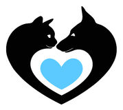 Cat and dog in the heart Royalty Free Stock Photo