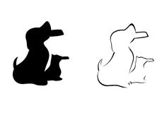 Cat and Dog Holding Bowl Silhouette. Cat and dog holding a bowl in silhouette an line outline vector illustration