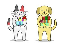 Cat and dog holding  gifts Stock Photo