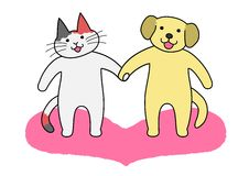 Cat and dog holding  hands Royalty Free Stock Photos