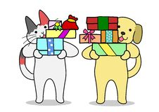 Cat and dog holding out gifts Royalty Free Stock Photos