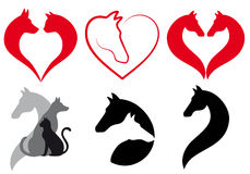Cat, dog, horse heart, vector set Royalty Free Stock Photography