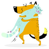 Cat and dog are hugging. Friendly pets. Vector illustration with couple of cute animals Stock Photo