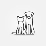 Cat with dog icon. Vector pets silhouettes in thin line style. Creative linear sign or logo for veterinary clinic vector illustration